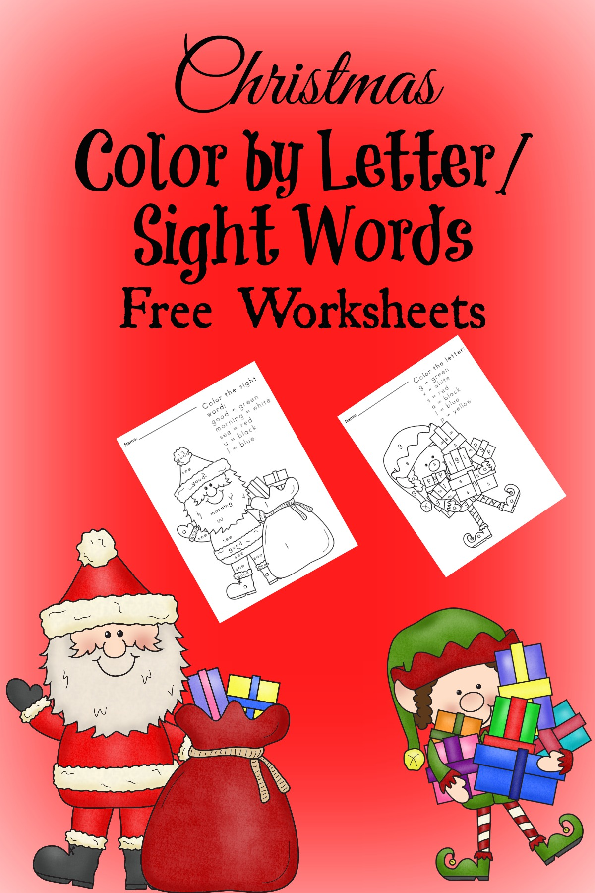 free christmas worksheets for kids these color by sight word - Free Color Word Worksheets