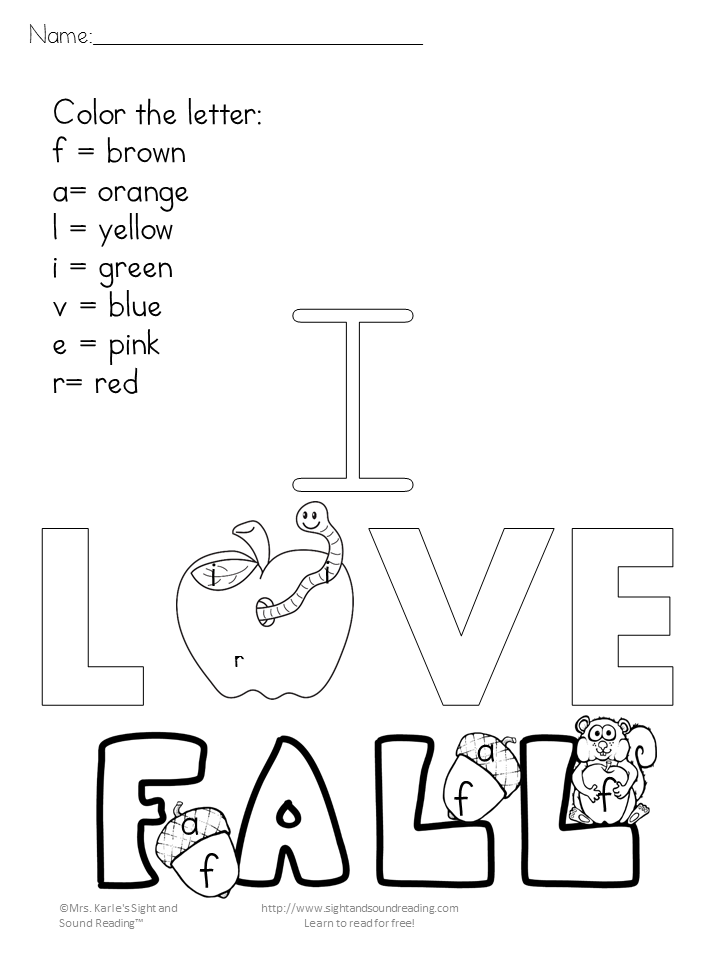 Printable Fall Coloring Pages Color by lettersight word