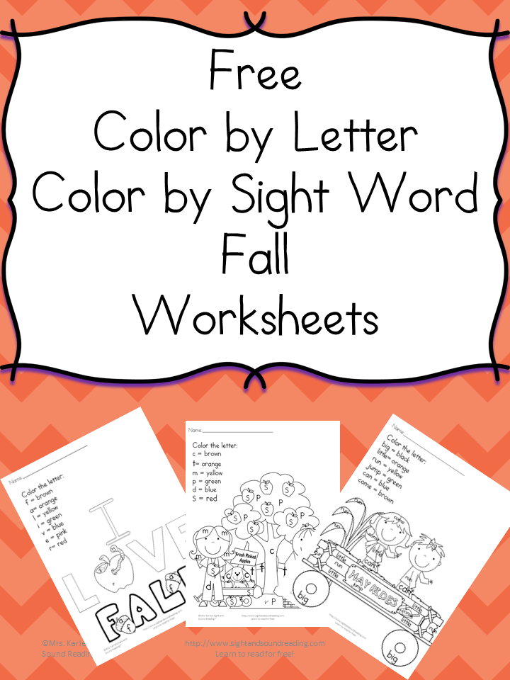 Printable Fall Coloring Pages – Color by letter/sight word