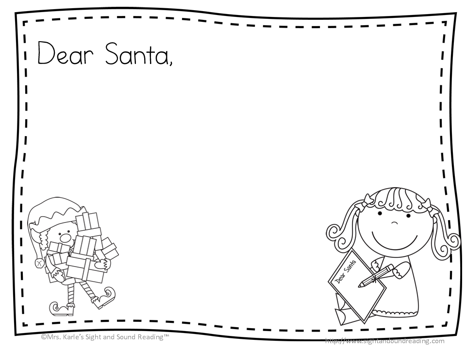 Santa letter free cute template to write a letter to santa for Dear santa template kindergarten letter