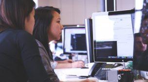 funcionários trabalhando em um software de gestão financeira