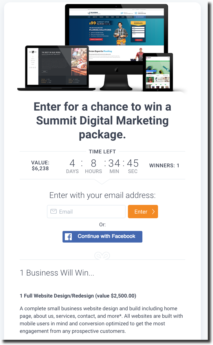 Social media contest tool example