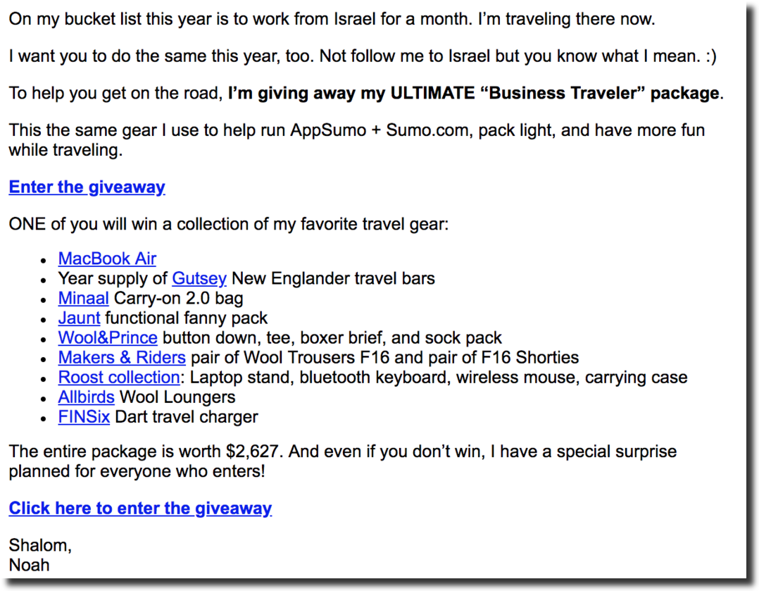 social media contest prizes