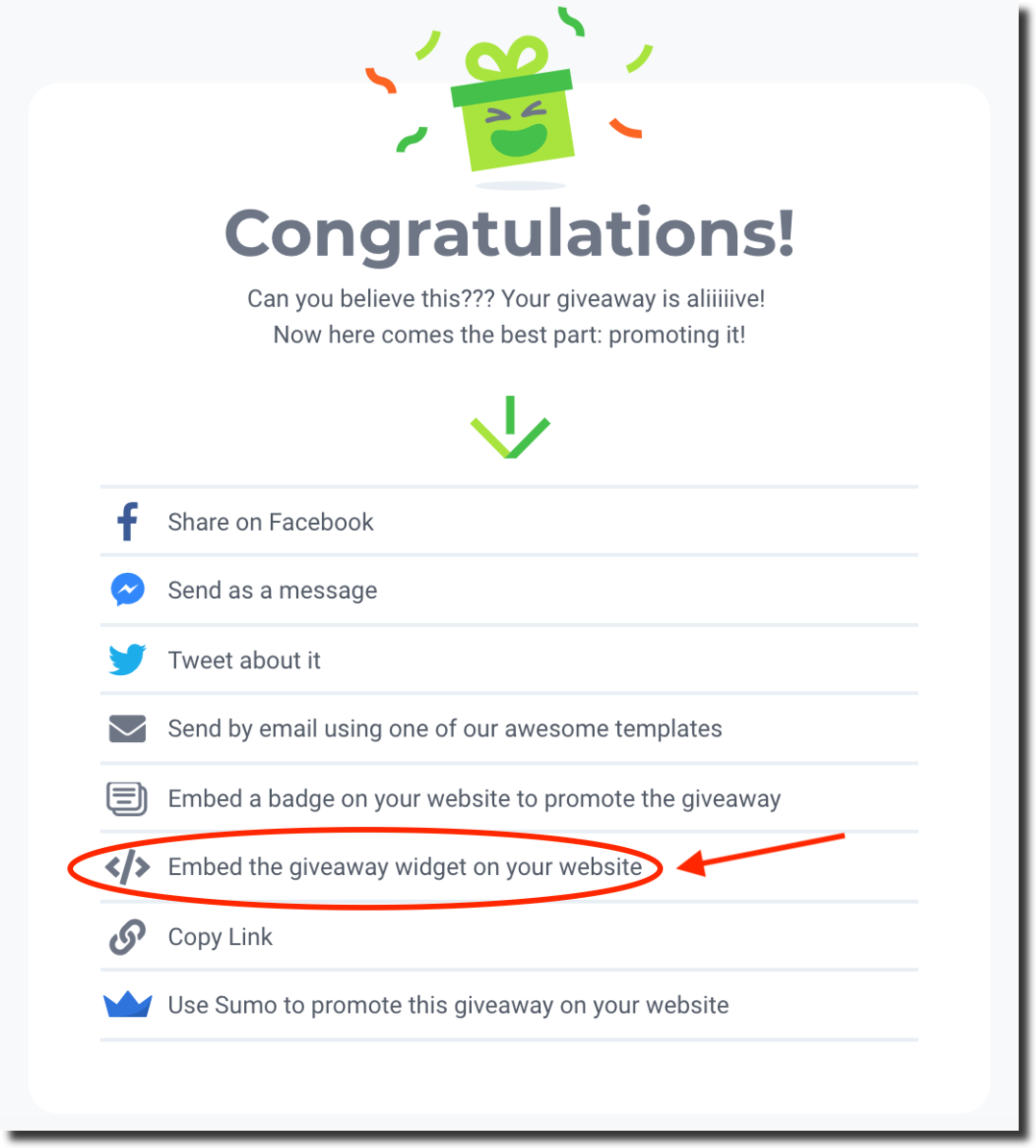 kingsumo email broadcast giveawaytips embed