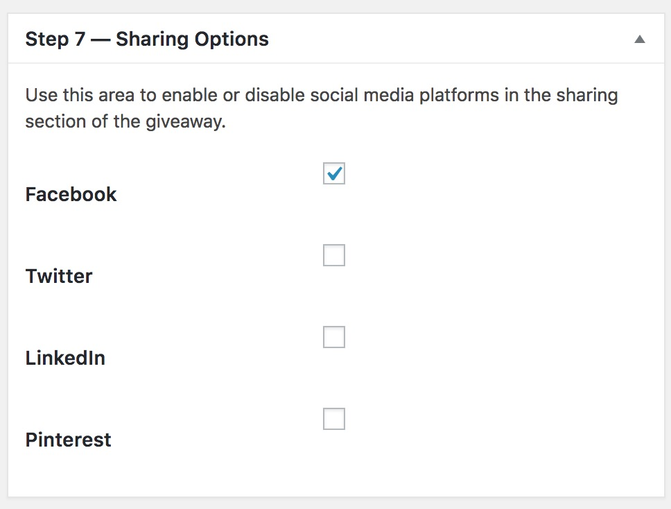 KingSumo Sharing Options