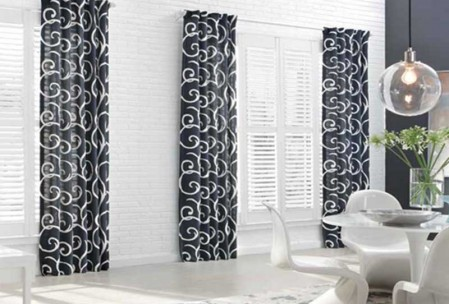 Drapery-with-wood-shutters - ZebraBlinds.com