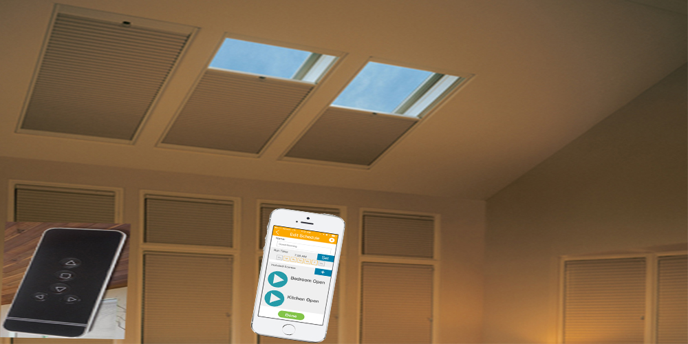 Easy to use and comfortable skylights shades and blinds for Electric skylight shades motorized blinds