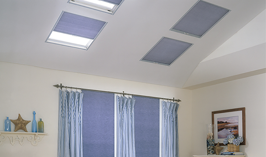 Blinds for skylights with remote control solar charging for Remote control skylights