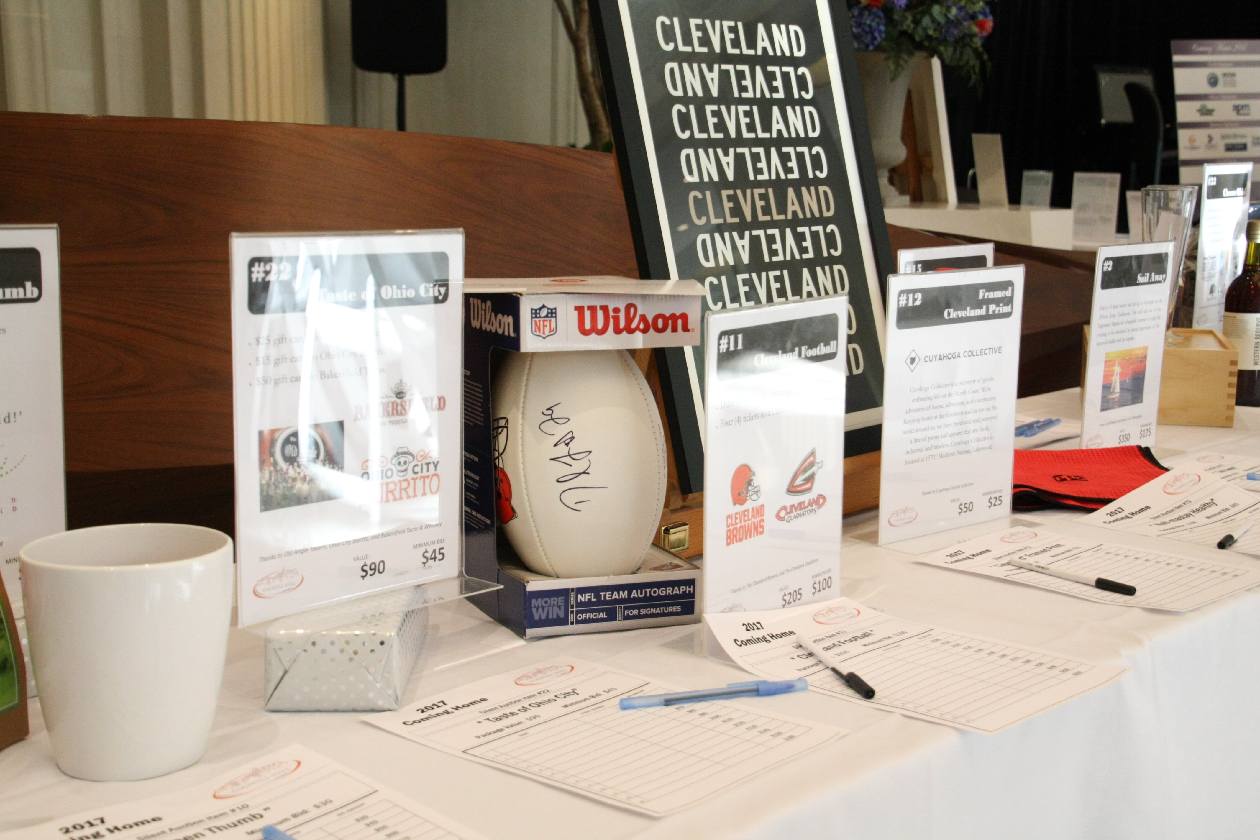 Coming Home 2017 silent auction table photo 1