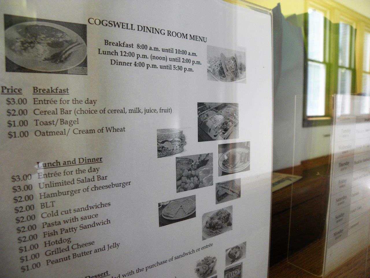 Dining room menu, 3/7/19
