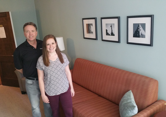 Jeff Krejci & Bridget Hrdlicka, renovated 3rd-floor lounge, May 2018