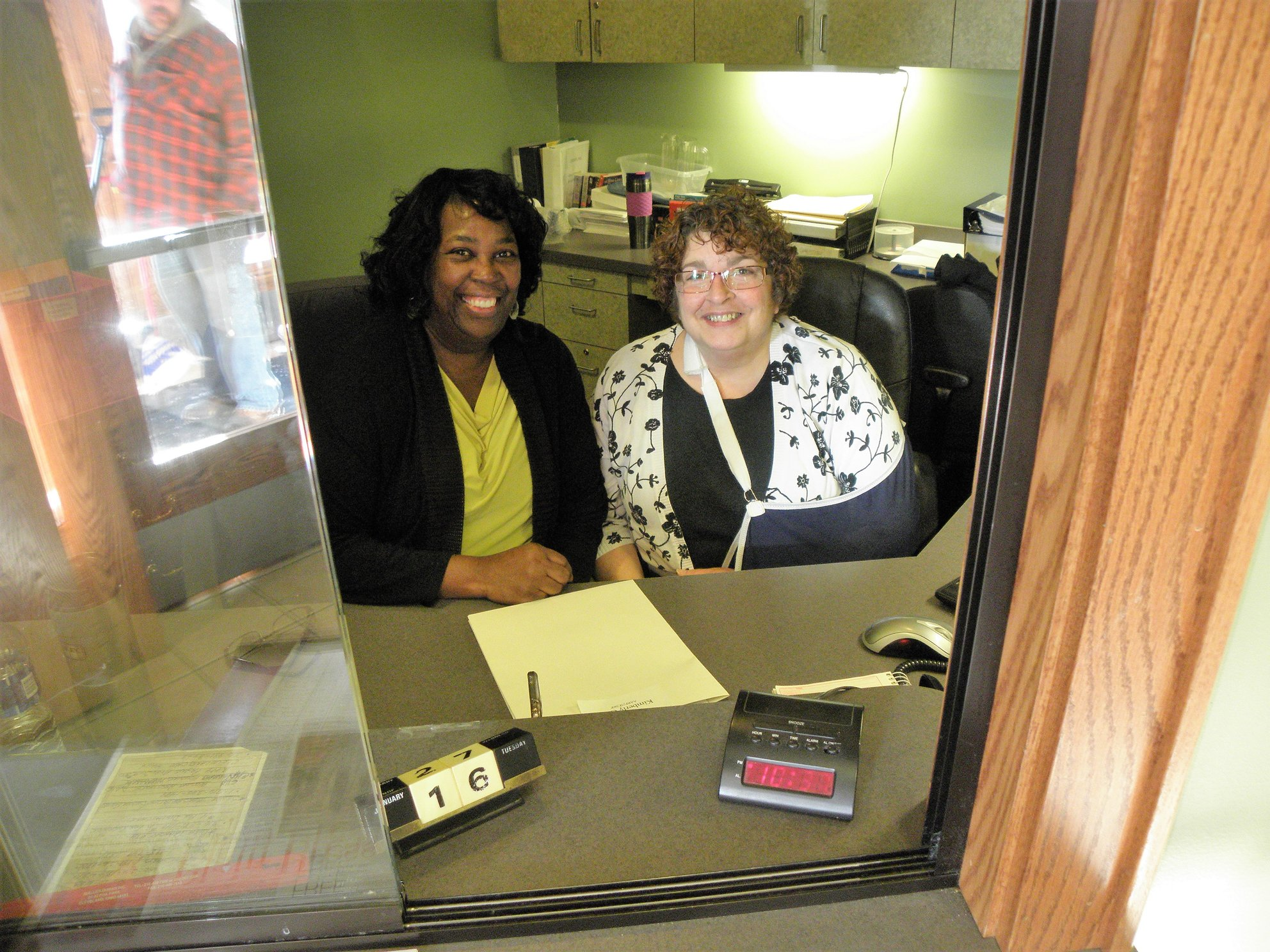Receptionists Kim Gale and Nancy Werner, Jan. 16, 2018