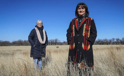 Mennonite pastor Florence Schloneger and Kaw tribal member Pauline Sharp