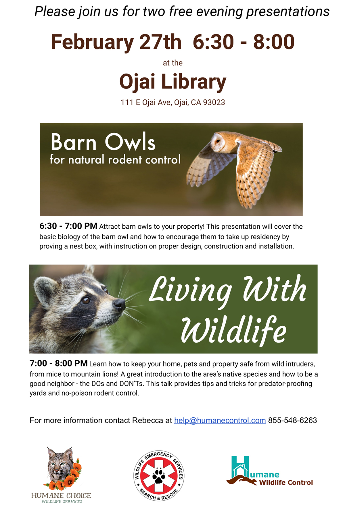 Living w/Wildlife & Barn Owls, Rodent Control Flyer