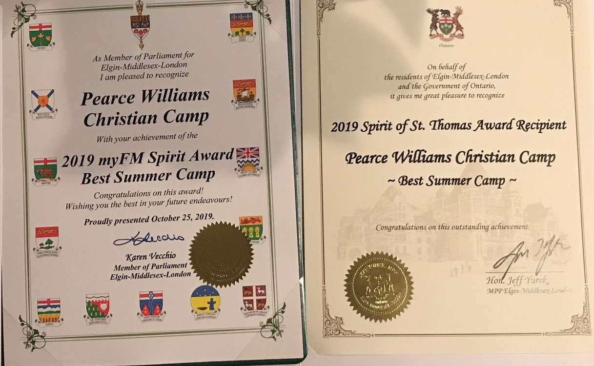 Pearce Williams Best summer camp in Elgin County certificates