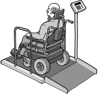 Weight scale that can weigh people using wheelchairs