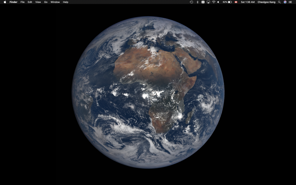 Preview of the macOS Mojave dynamic wallpaper on 2019 March equinox