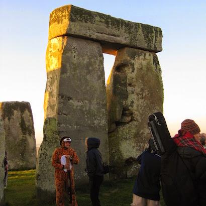 Lots of characters at Stonehenge including Tigger.