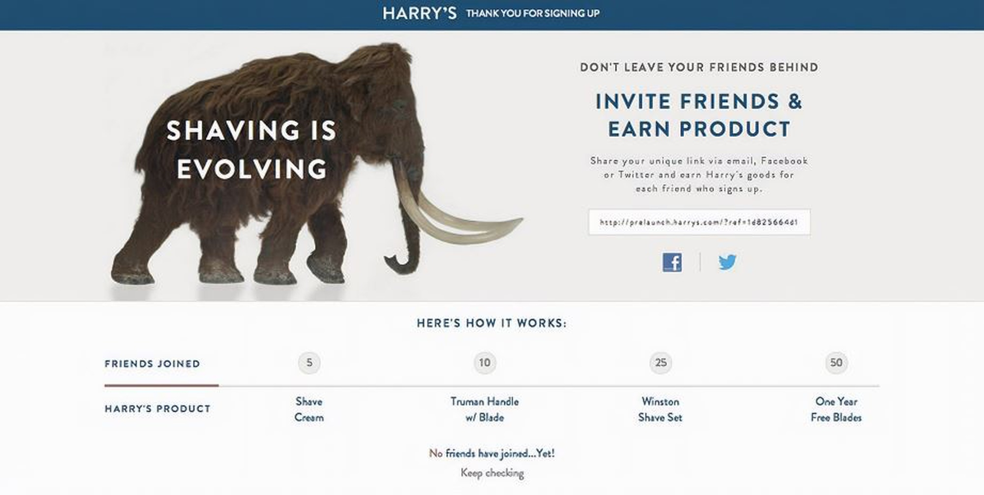 Harry's landing page
