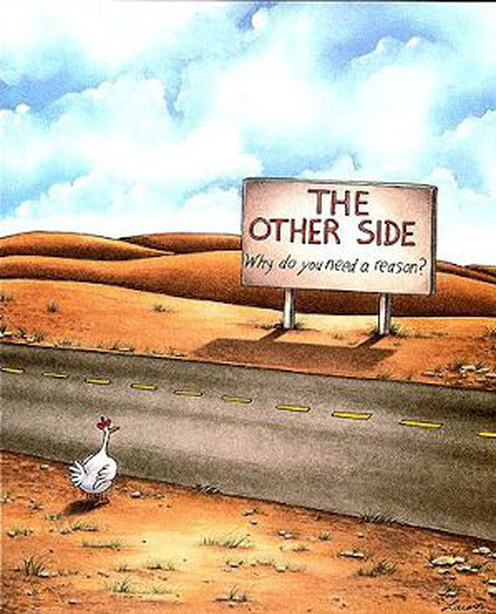[A chicken crosses the road] It's all about people's perspective
