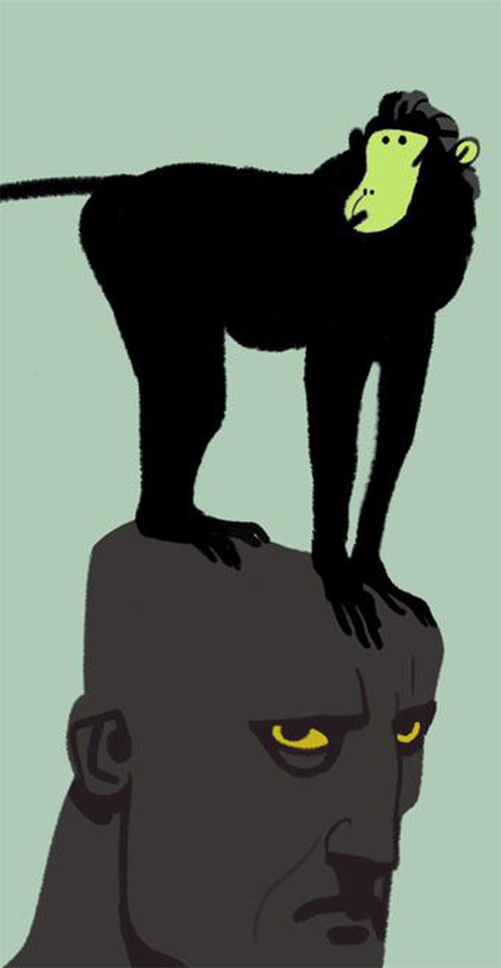 [esprit du singe] un terme qui fait référence au fait d'être instable, agité ou confus