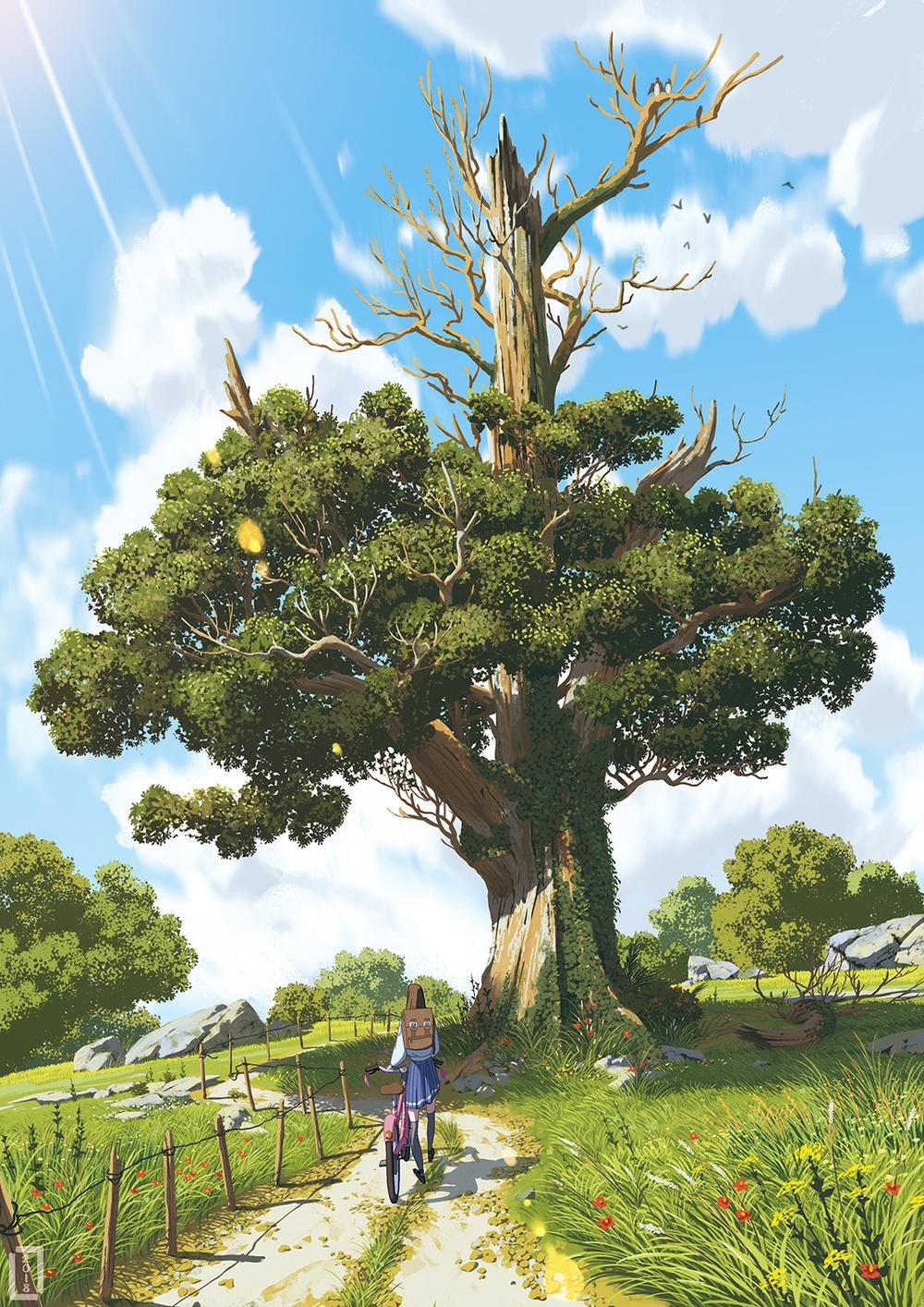 Un seul arbre dans une plaine se tient comme un grand homme