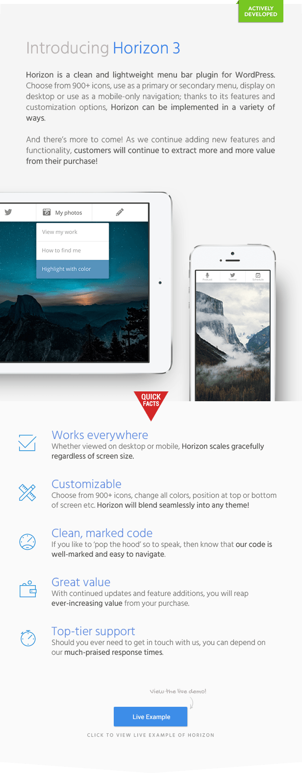 Horizon - Menu Bar Plugin for WordPress Download