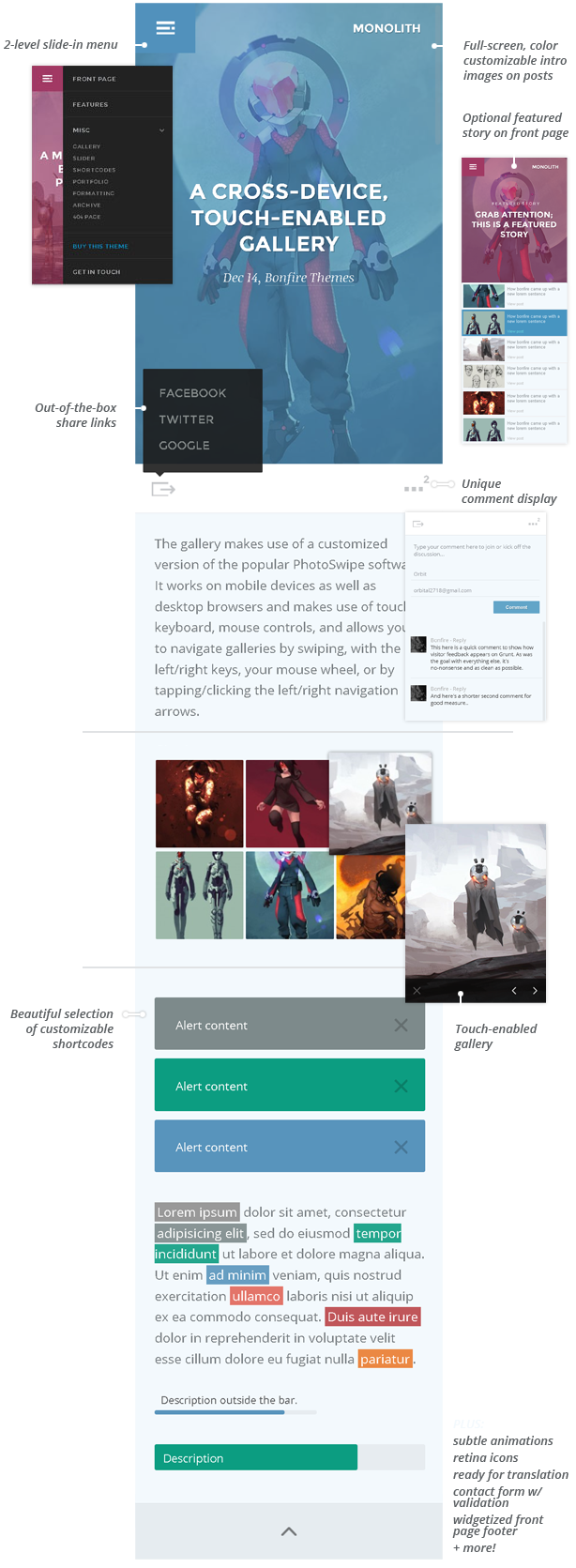 Monolith – WP theme for bloggers and professionals, Gobase64