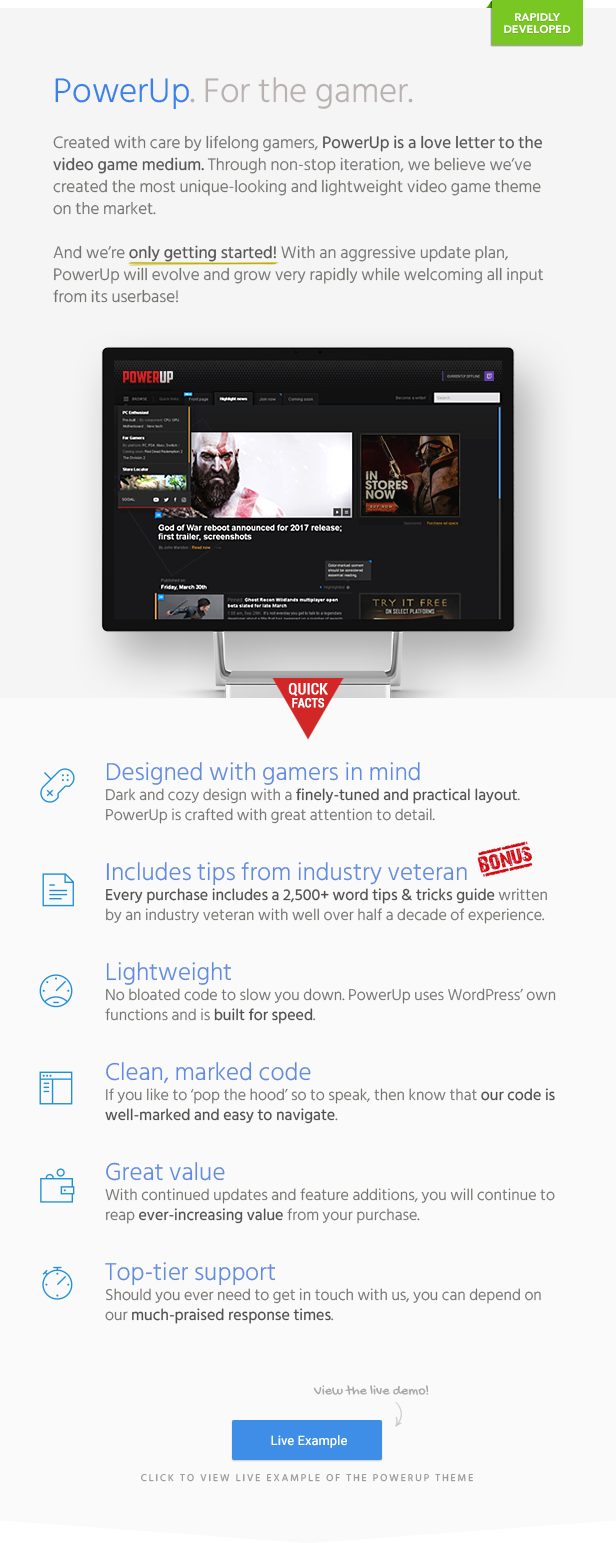PowerUp Gaming Theme for WordPress