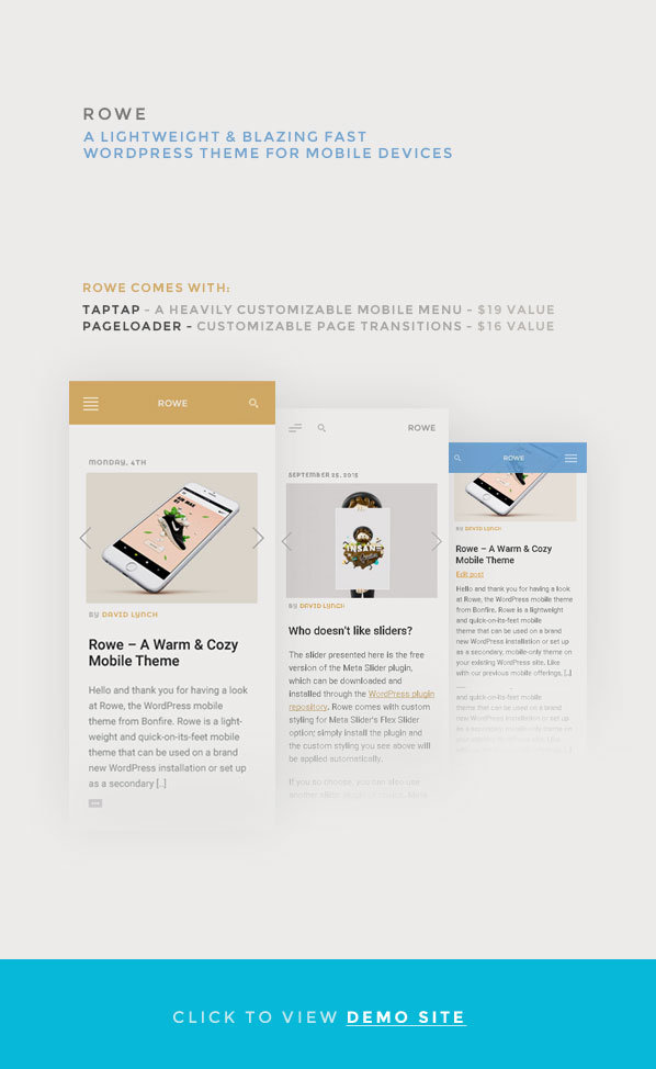 ROWE Mobile Theme for WordPress by BonfireThemes - ThemeForestROWE Mobile Theme for WordPress - 웹