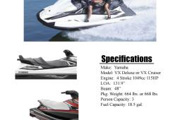 2016 Yamaha VX® Cruiser & Deluxe Rental Units