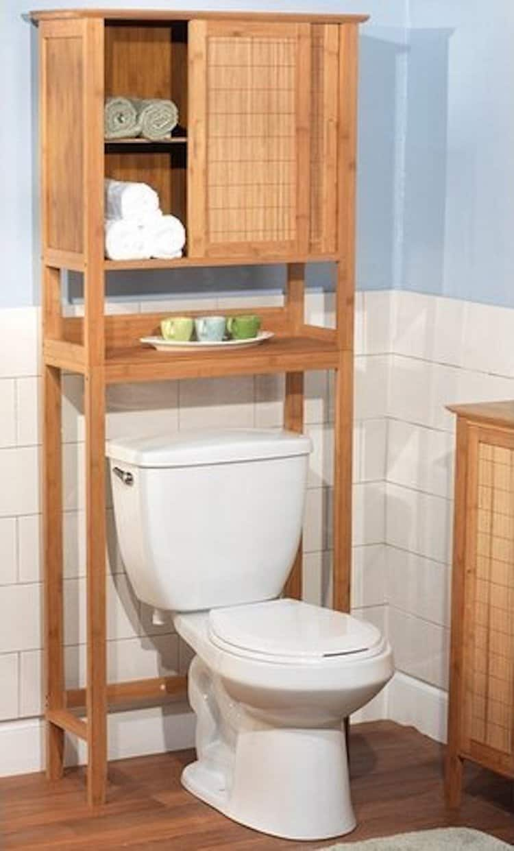 bamboo tower over toilet