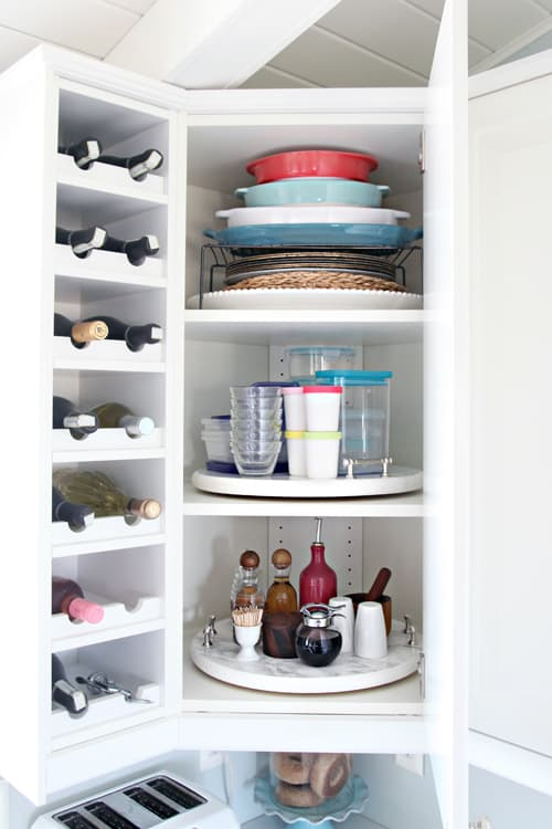 using a lazy susan to organize cabinets