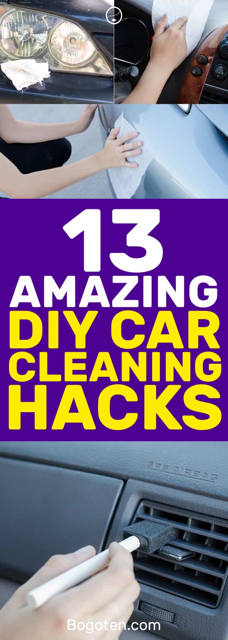 I hate having a dirty car and with these DIY car cleaning hacks I have no reason to have one! I love these ideas. #DIY #Cleaning