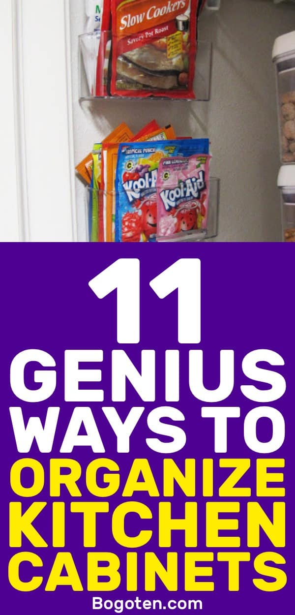 Looking for ways to keep your kitchen cabinets organized? These DIY hacks will keep everything where it needs to be.