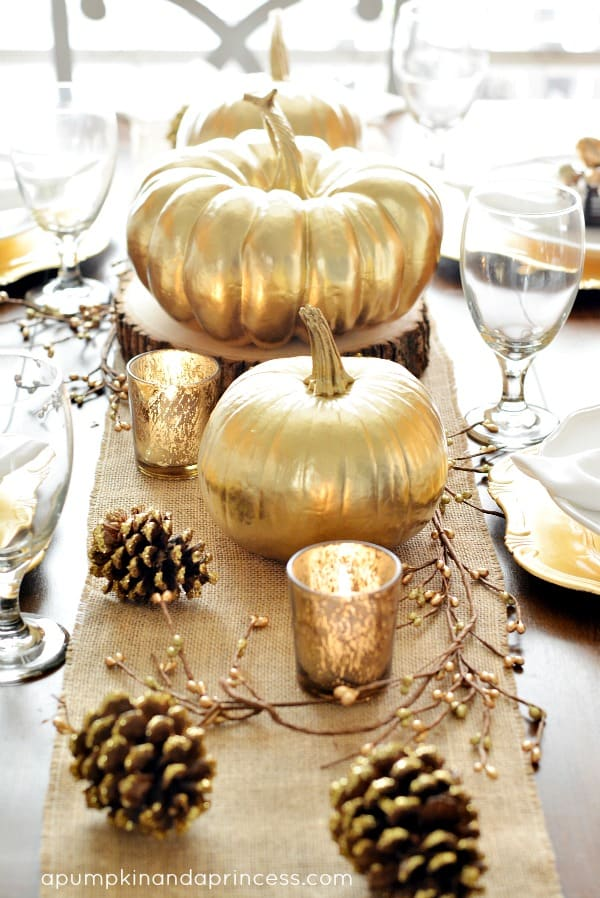 gold pumpkin table decor