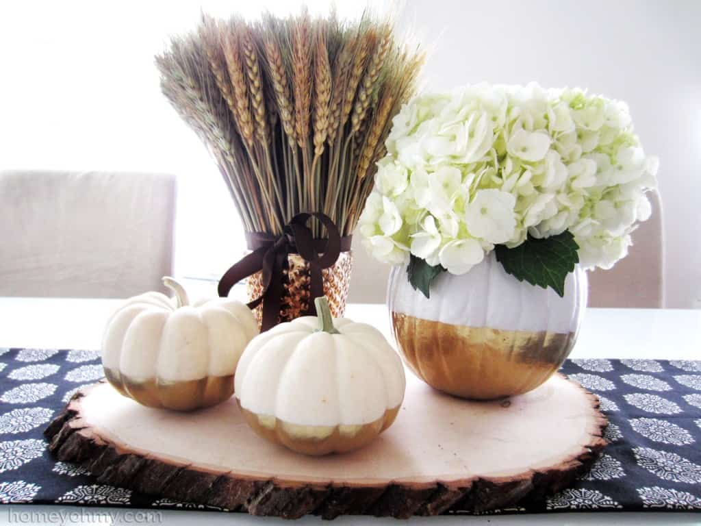 gold dipped pumpkin centerpiece