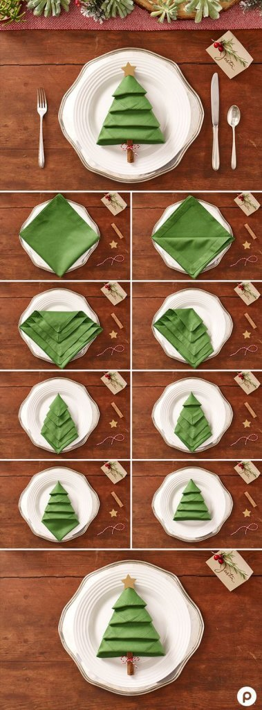 Christmas tree napkins. #DIYDecorations #HomeDecor