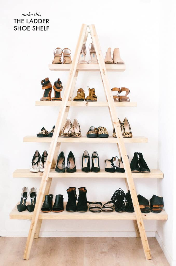 Shoe storage DIY ladder for shoe organization.