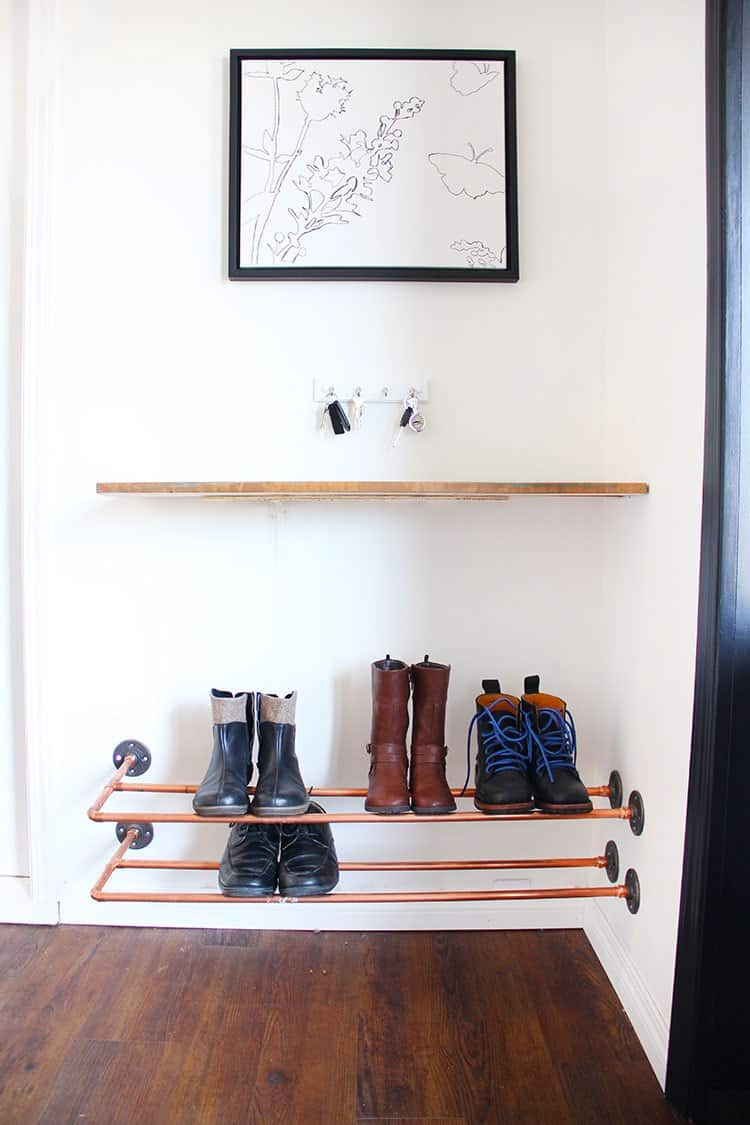 Copper shoe storage shelf that you can create today.