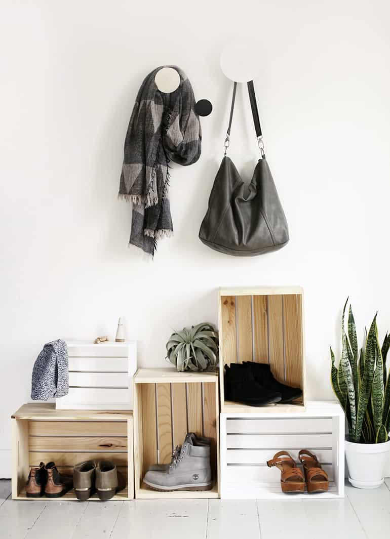 Entryway shoe storage idea with crates.