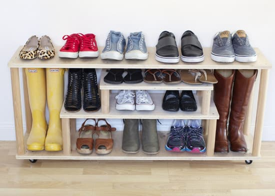DIY plywood shoe storage idea.