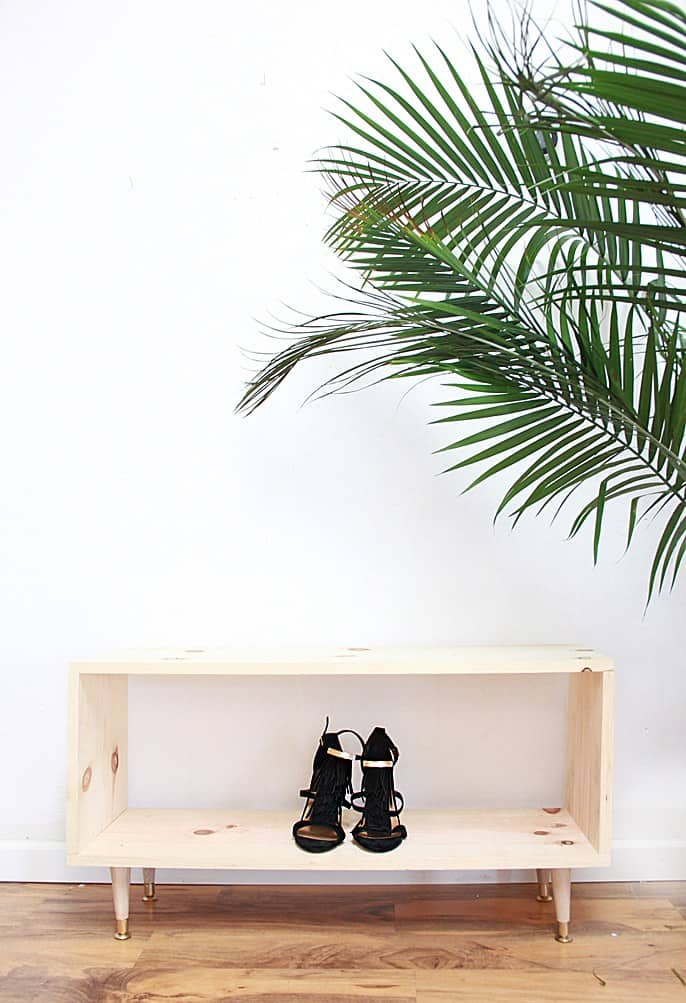 DIY wooden shoe rack to store your shoes.