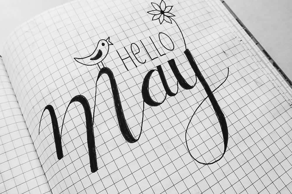 grid paper with hand lettering