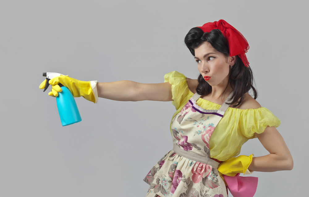 Beautiful woman in pin up style with perfect hair and make up .Expressive facial expressions. Housewife with cleaning accessory .Copy space.
