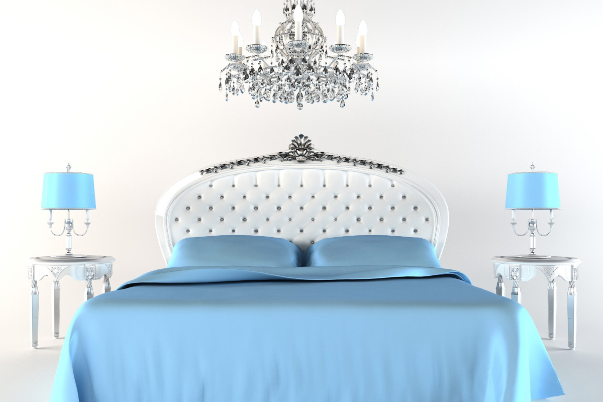 Modern bed with night lamps and chandelier. Flat