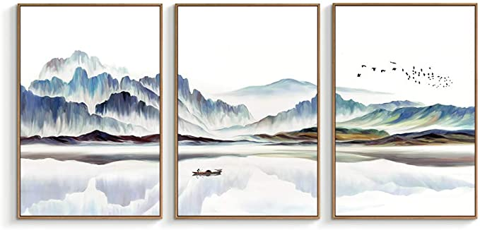 Pretty lake and mountain bedroom art