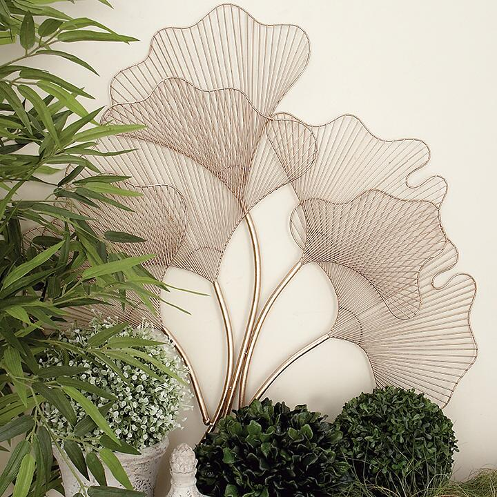 Sculptural wall art with Rose Gold Ginko leaves