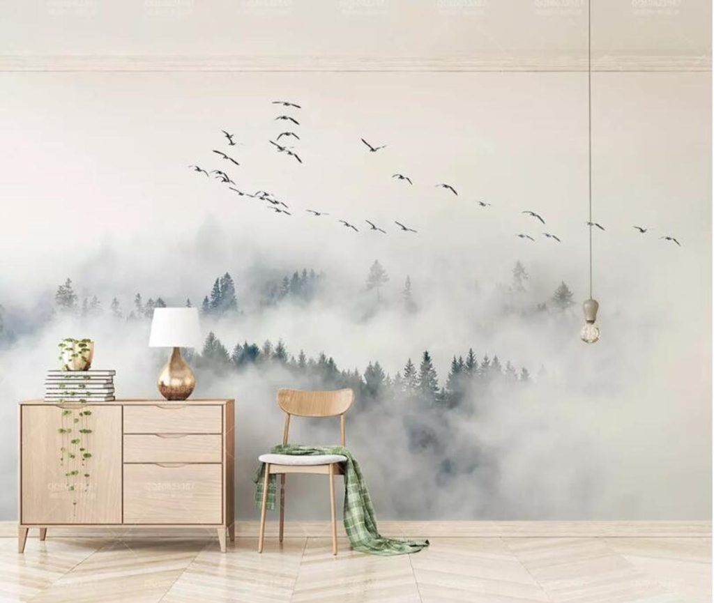 Large scale mural of woods and birds for the bedroom