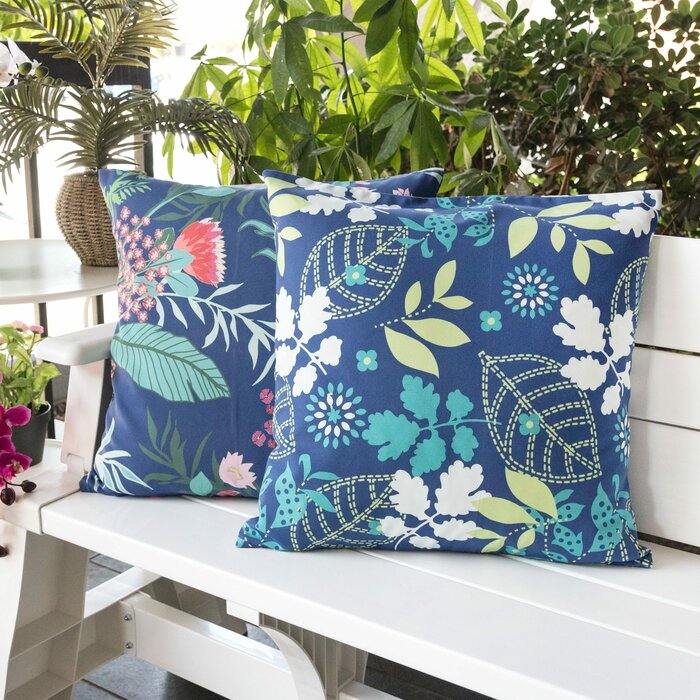 Weatherproof pillows for the patio, floral blue with green and pink.
